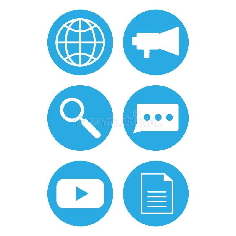 Iconos de las comunicaciones del teléfono Icono del Web stock de ilustración