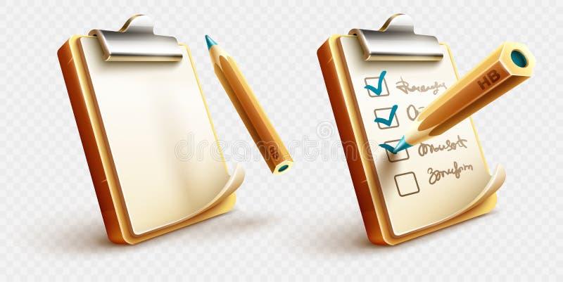 Iconos de las cosas de la lista de control a hacer en el tablero con el lápiz stock de ilustración