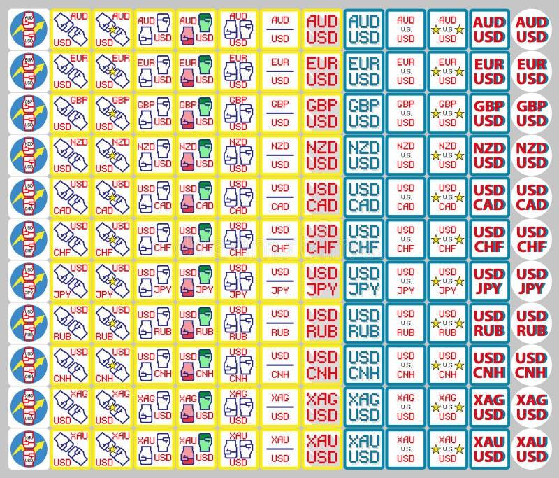 Iconos de las divisas, cotizaciones, tipos de cambio  libre illustration