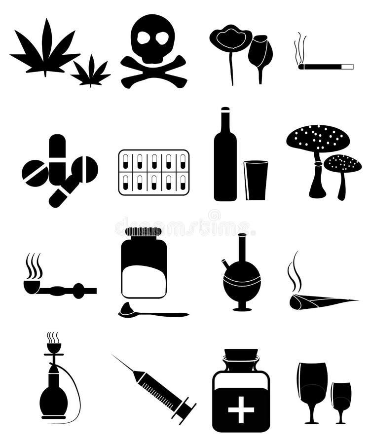 Iconos de las drogas fijados stock de ilustración
