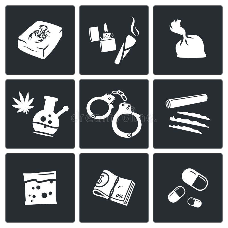 Iconos de las drogas fijados libre illustration