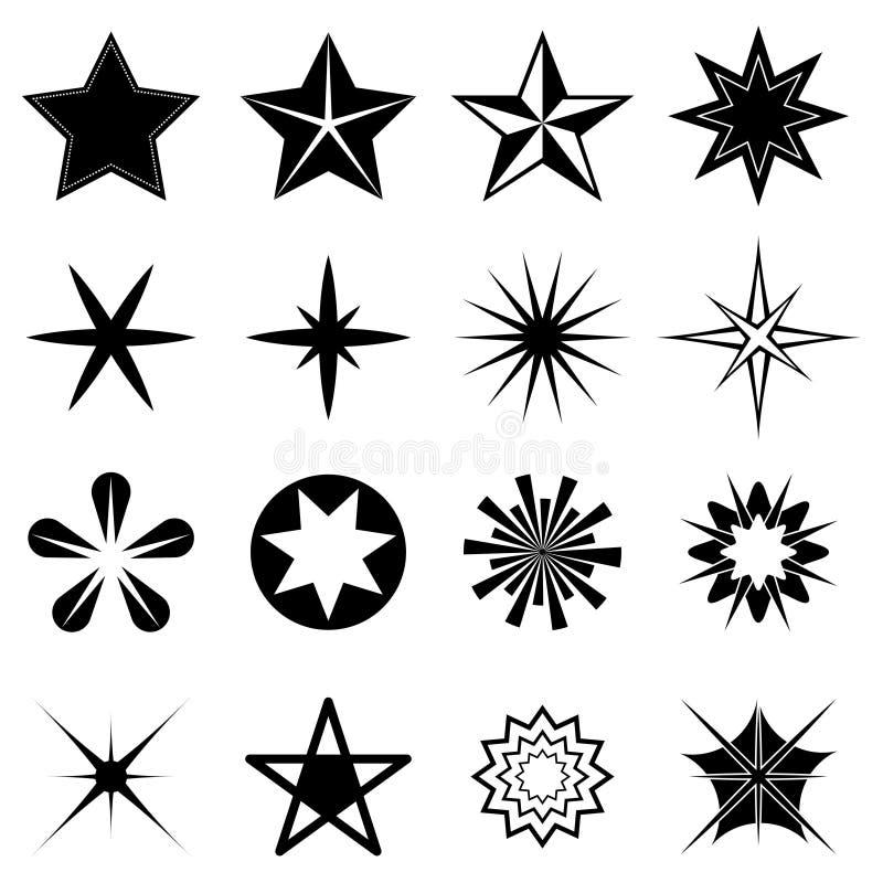 Iconos de las estrellas fijados stock de ilustración