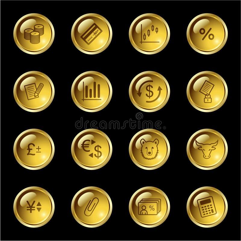 Iconos de las finanzas de la gota del oro ilustración del vector