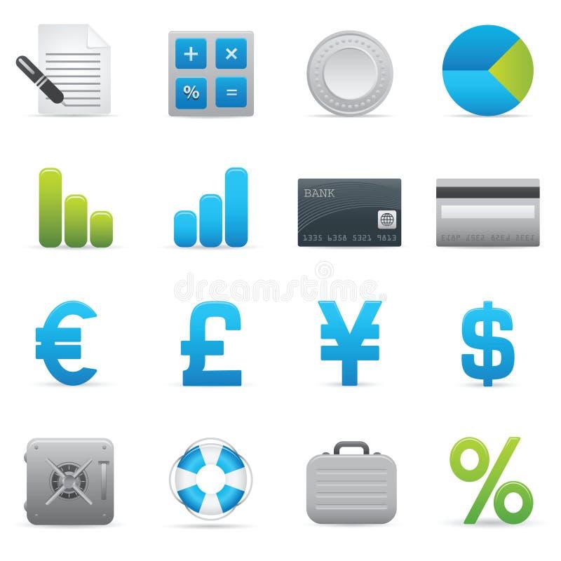 Iconos de las finanzas | Serie 01 del añil stock de ilustración