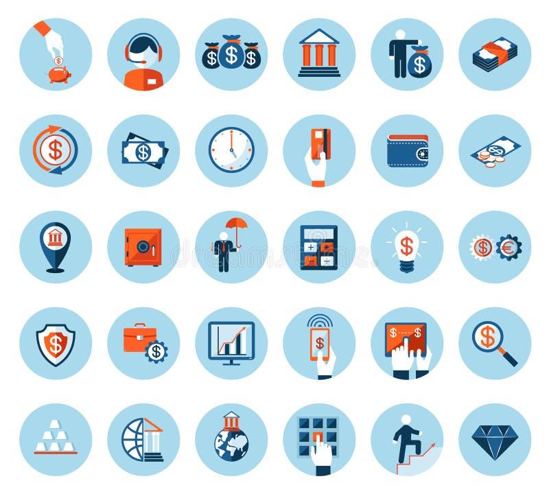 Iconos de las finanzas y de las actividades bancarias en estilo plano coloreado stock de ilustración