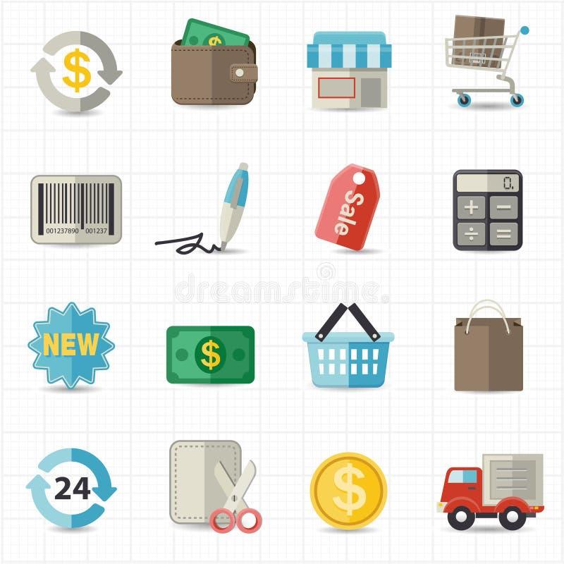 Iconos de las finanzas y de las compras del negocio ilustración del vector