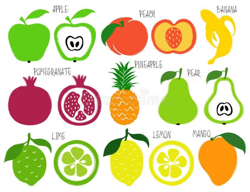 Iconos de las frutas del Grunge del cepillo fijados libre illustration