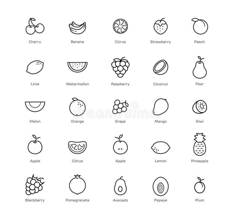 Iconos de las frutas y de las bayas fijados 25 artículos Color negro ilustración del vector