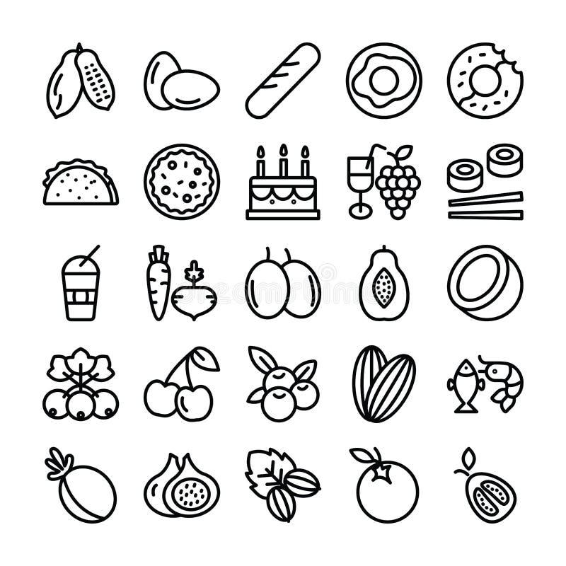 Iconos de las frutas y verdura stock de ilustración