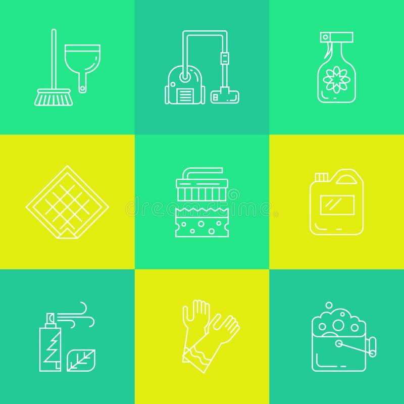 Iconos de las fuentes de la limpieza y del hogar ilustración del vector