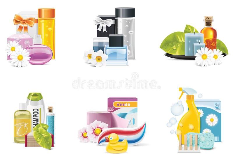 Iconos de las fuentes de la salud y de la belleza del vector ilustración del vector