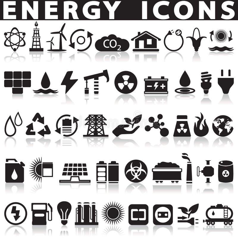 Iconos de las fuentes de energía fijados stock de ilustración