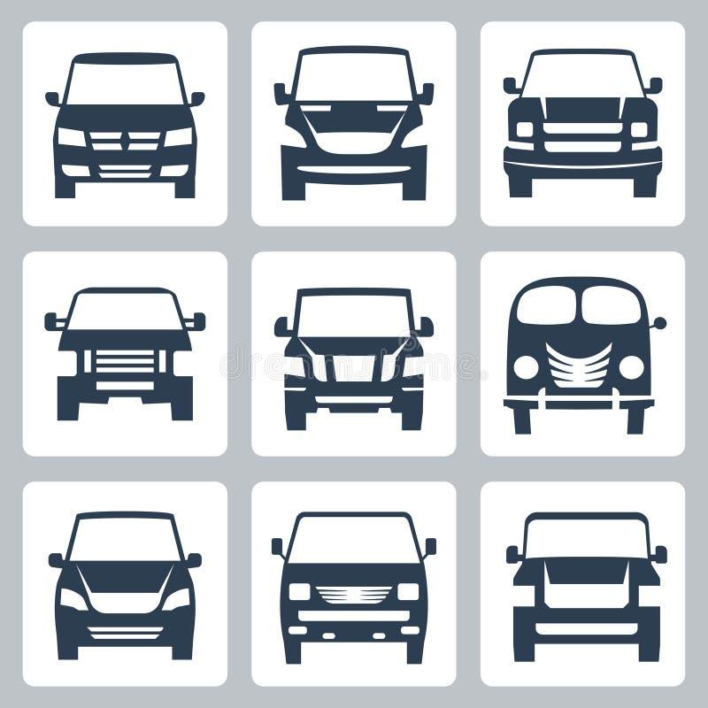 Iconos de las furgonetas del vector (vista delantera) fijados stock de ilustración