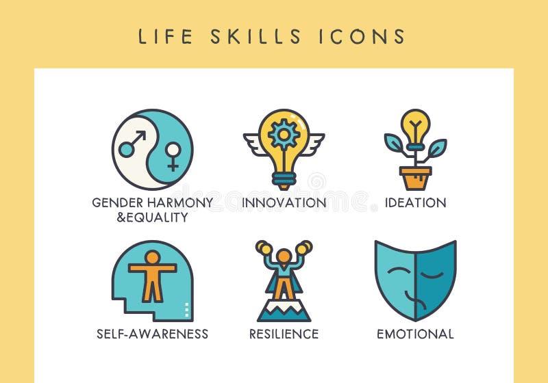 Iconos de las habilidades de la vida ilustración del vector