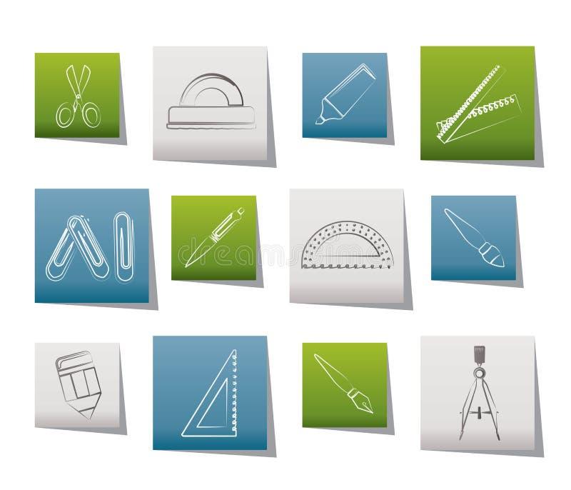 Iconos de las herramientas de la escuela y de la oficina stock de ilustración
