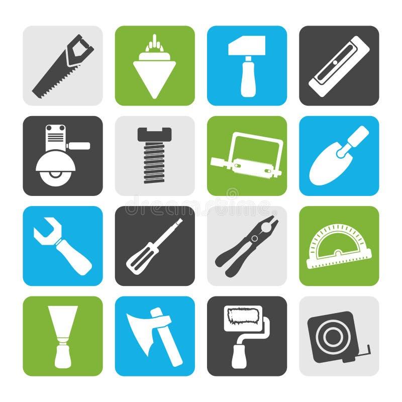 Iconos de las herramientas del edificio y de la construcción de la silueta stock de ilustración