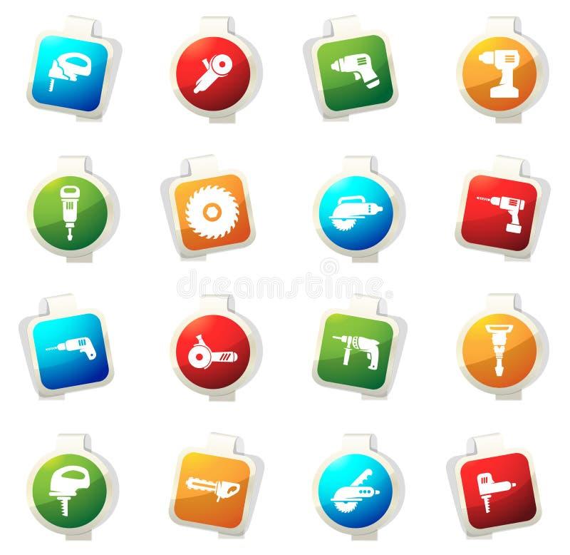 Iconos de las herramientas eléctricas fijados ilustración del vector