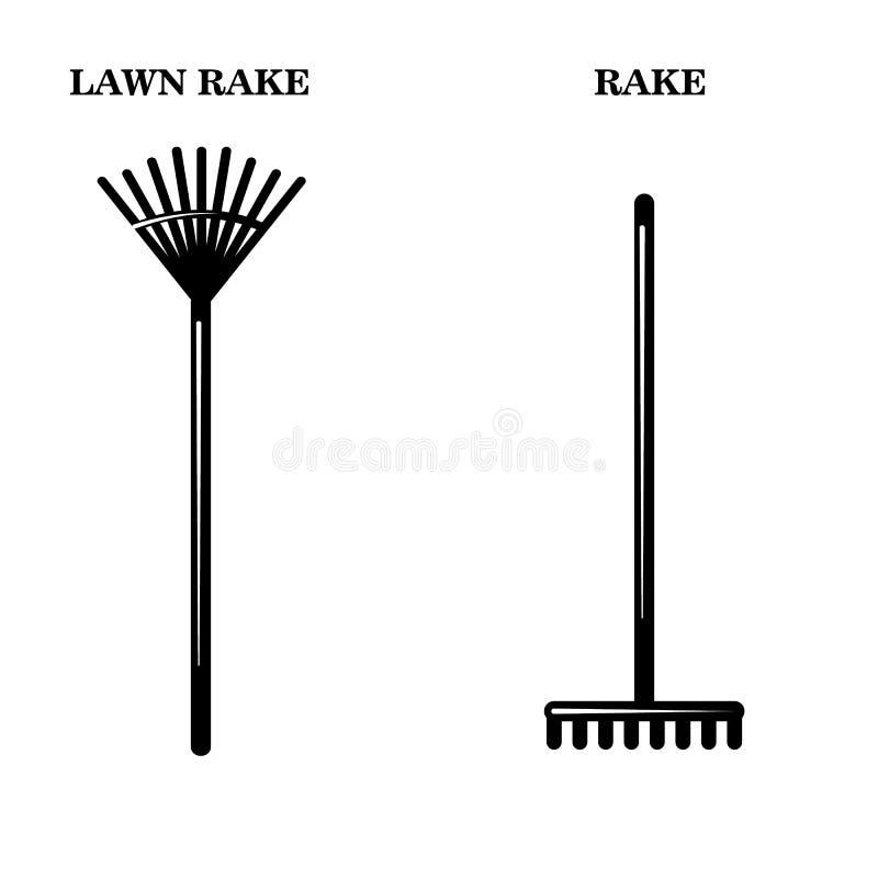 Iconos de las herramientas de los jardineros Ejemplo simple de dos vectores stock de ilustración