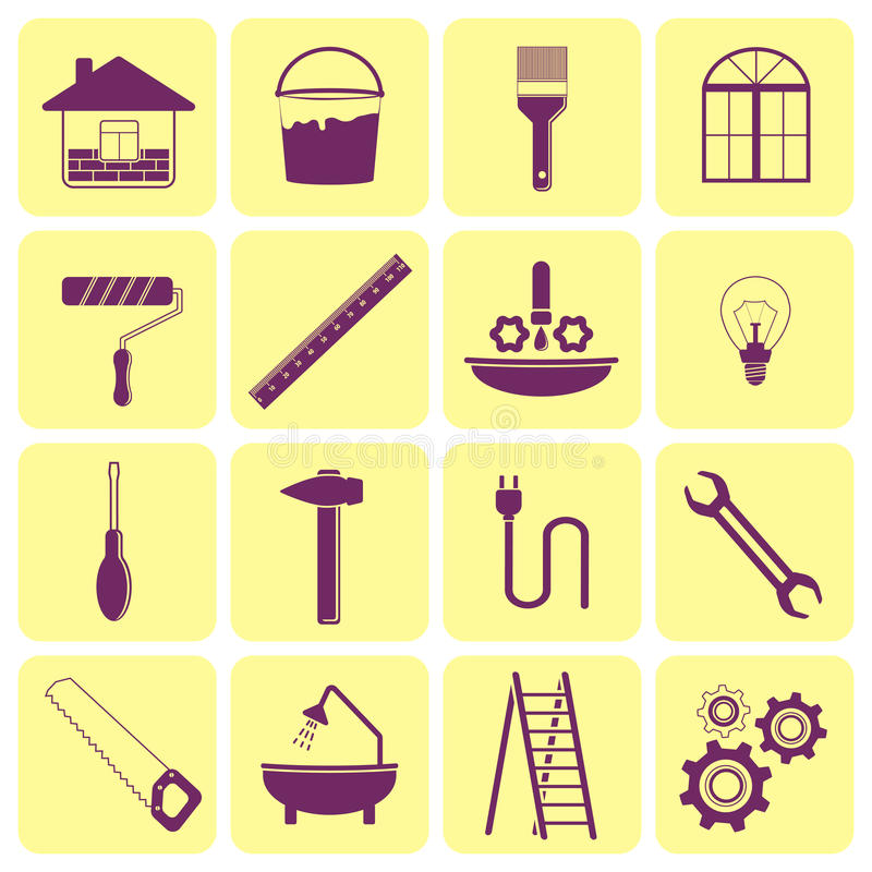 Iconos de las herramientas para la reparación de la casa stock de ilustración