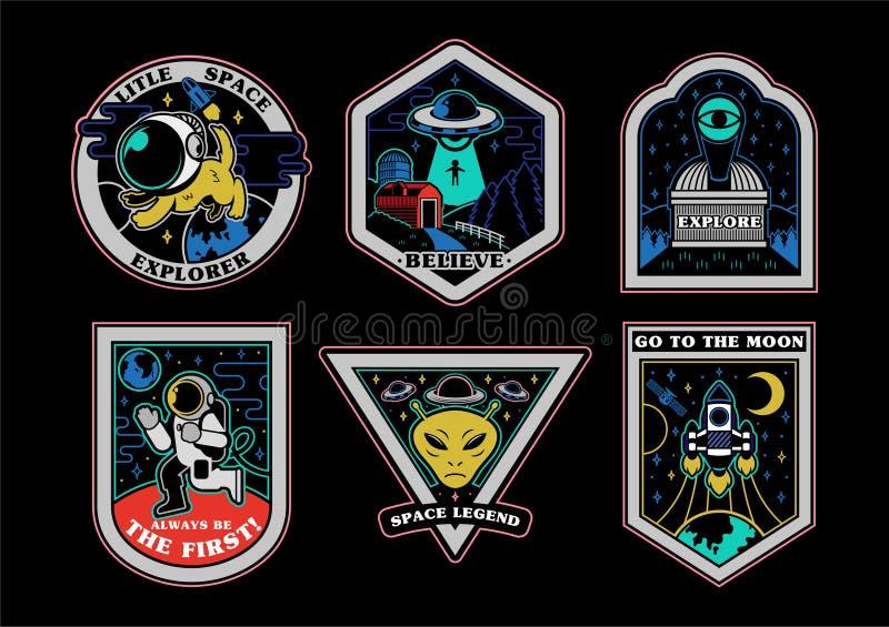 Iconos de las impresiones de los remiendos de las etiquetas engomadas del sistema del espacio libre illustration
