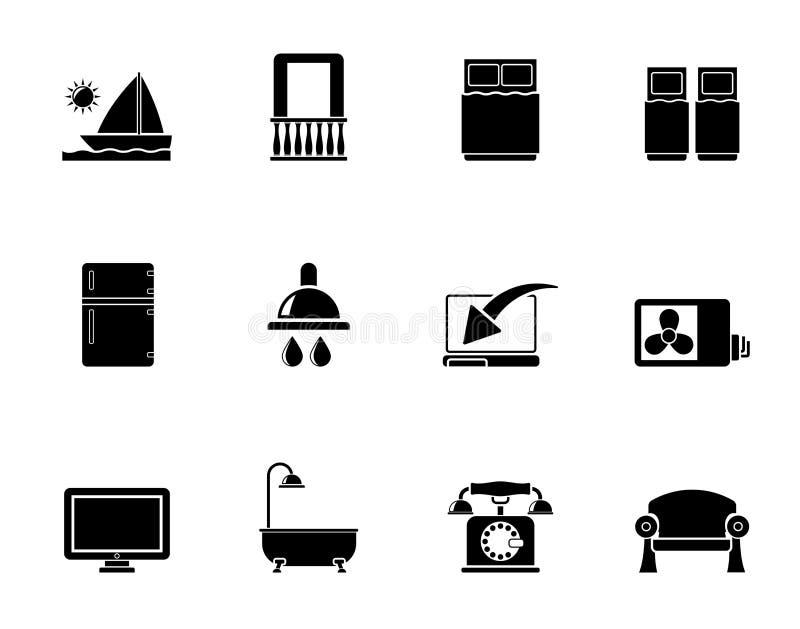 Iconos de las instalaciones del cuarto de motel del hotel y de la silueta libre illustration