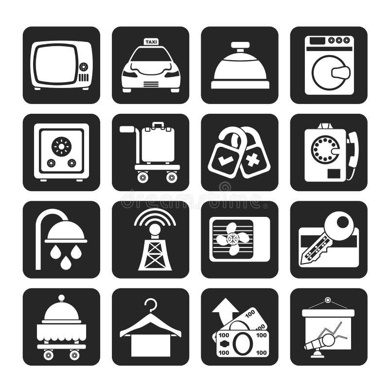 Iconos de las instalaciones del cuarto de motel del hotel y de la silueta stock de ilustración