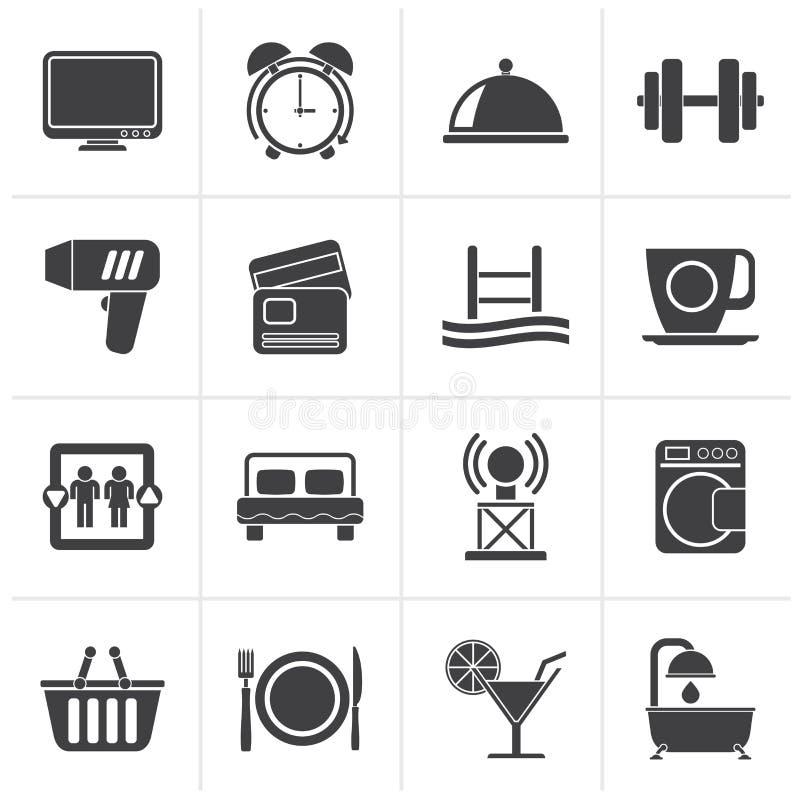 Iconos de las instalaciones negras del hotel y del motel stock de ilustración
