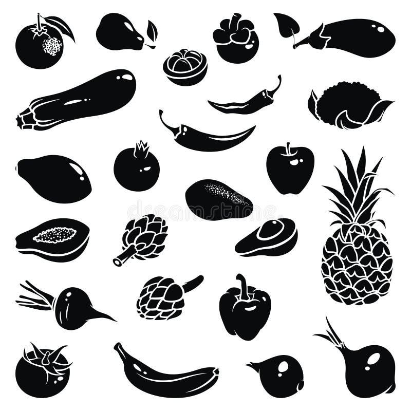 Iconos de las legumbres de frutas libre illustration