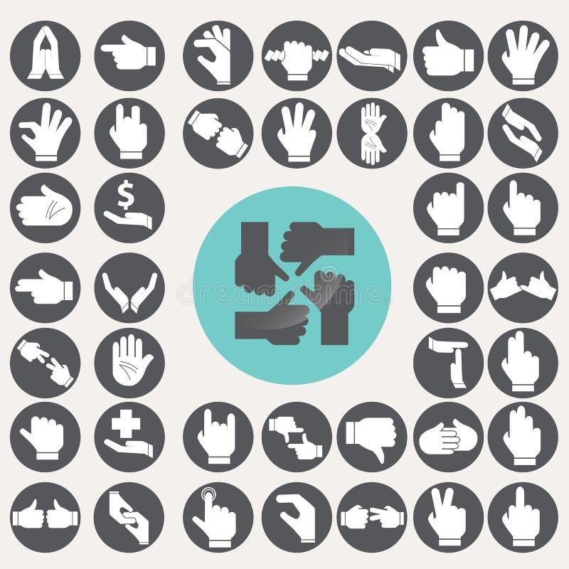 Iconos de las manos del lenguaje de signos fijados stock de ilustración