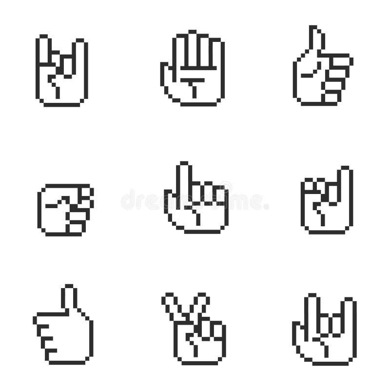Iconos de las manos del pedazo del arte 8 del pixel y muestras de los gestos fijadas libre illustration