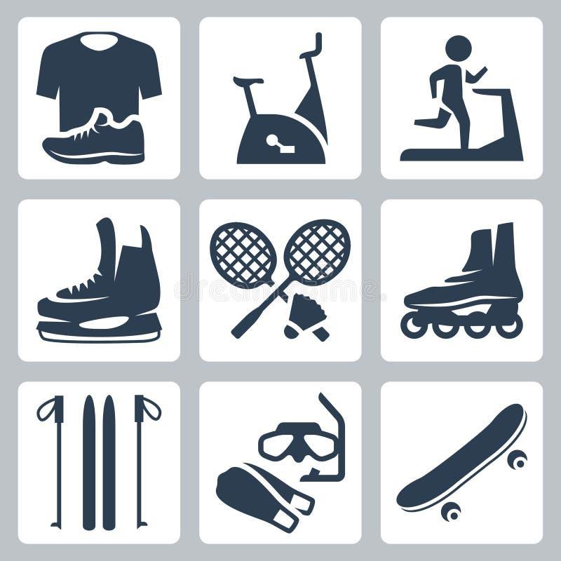 Iconos de las mercancías de los deportes del vector fijados ilustración del vector