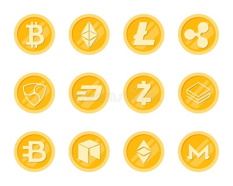 Iconos de las monedas de Crupto fijados ilustración del vector