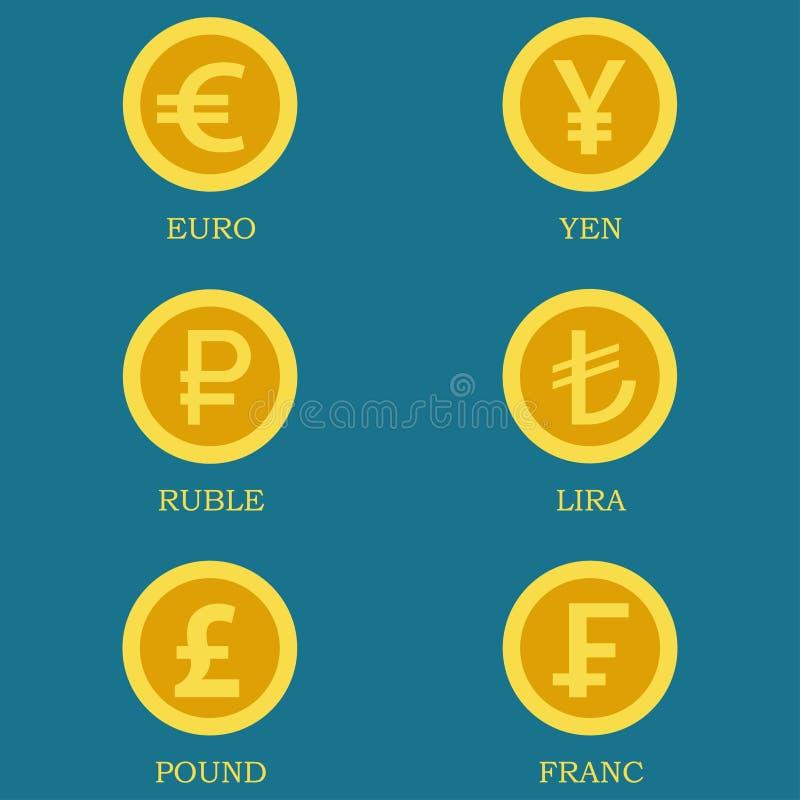 Iconos de las monedas de oro con imágenes de monedas de los países diferentes ilustración del vector