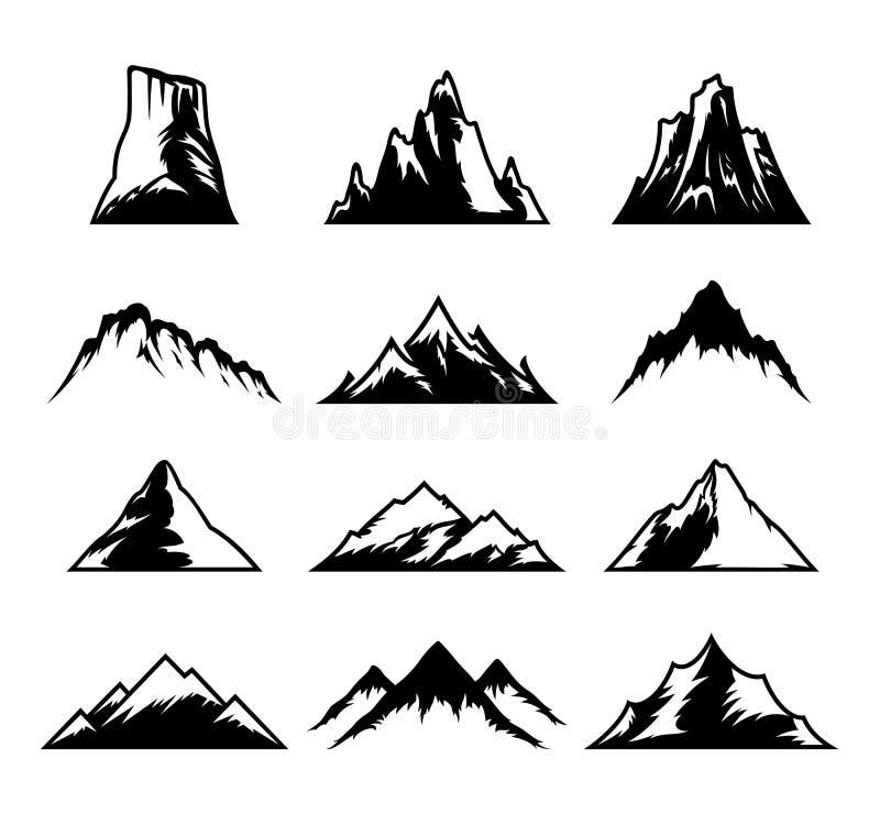 Iconos de las montañas del vector aislados en blanco stock de ilustración