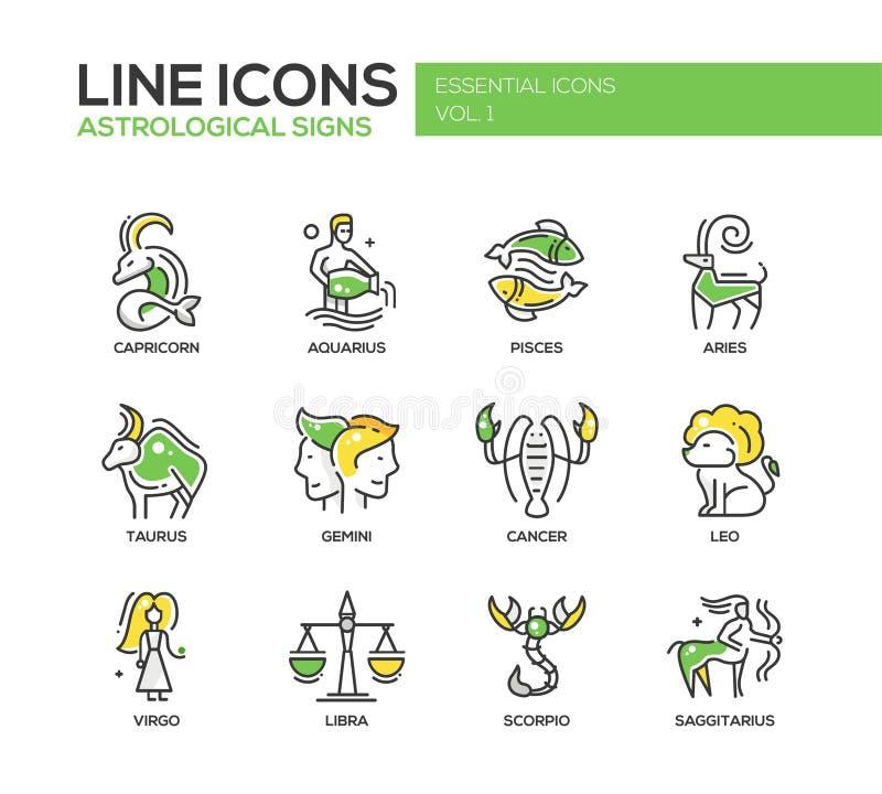 Iconos de las muestras del zodiaco fijados stock de ilustración