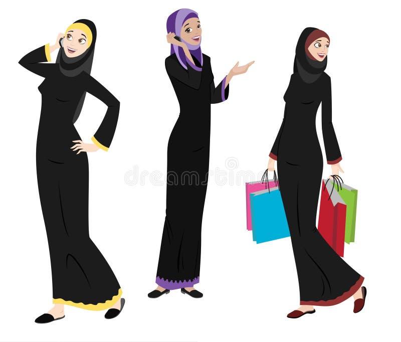 Iconos de las mujeres de Khaliji en posiciones derechas stock de ilustración