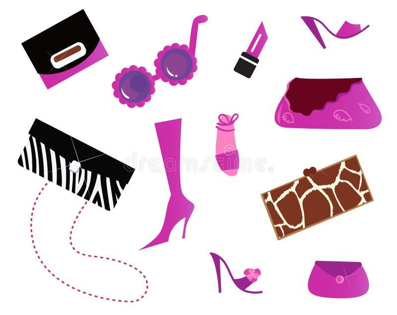 Iconos de las mujeres y - bolsos y zapatos (color de rosa) ilustración del vector