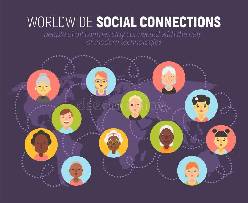 Iconos de las mujeres y concepto social de la comunidad de la red en un mapa del mundo stock de ilustración