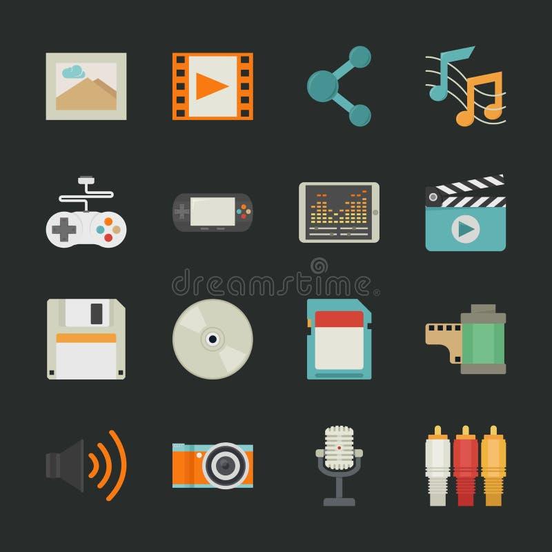 Iconos de las multimedias con el fondo negro libre illustration
