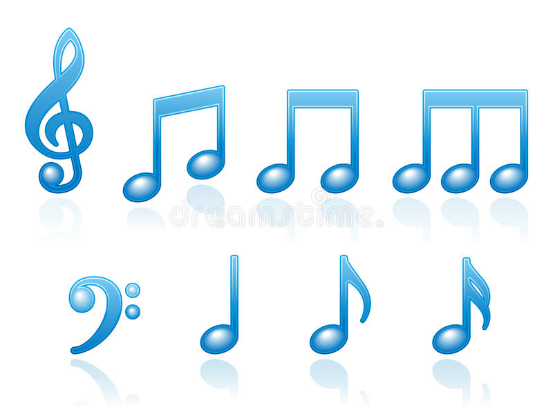 Iconos de las notas musicales ilustración del vector
