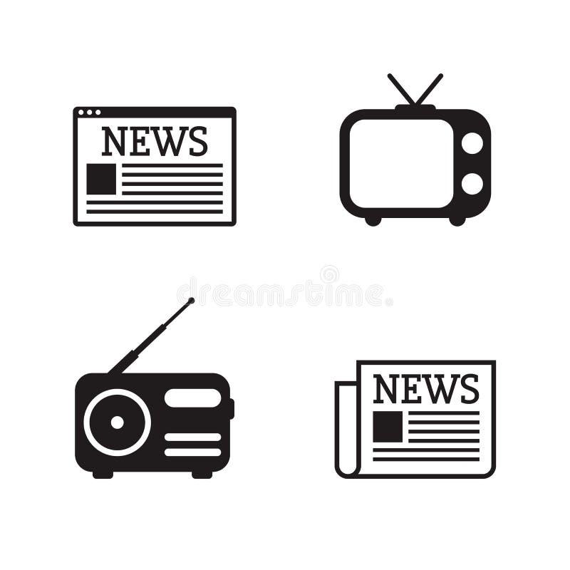 Iconos de las noticias fijados stock de ilustración