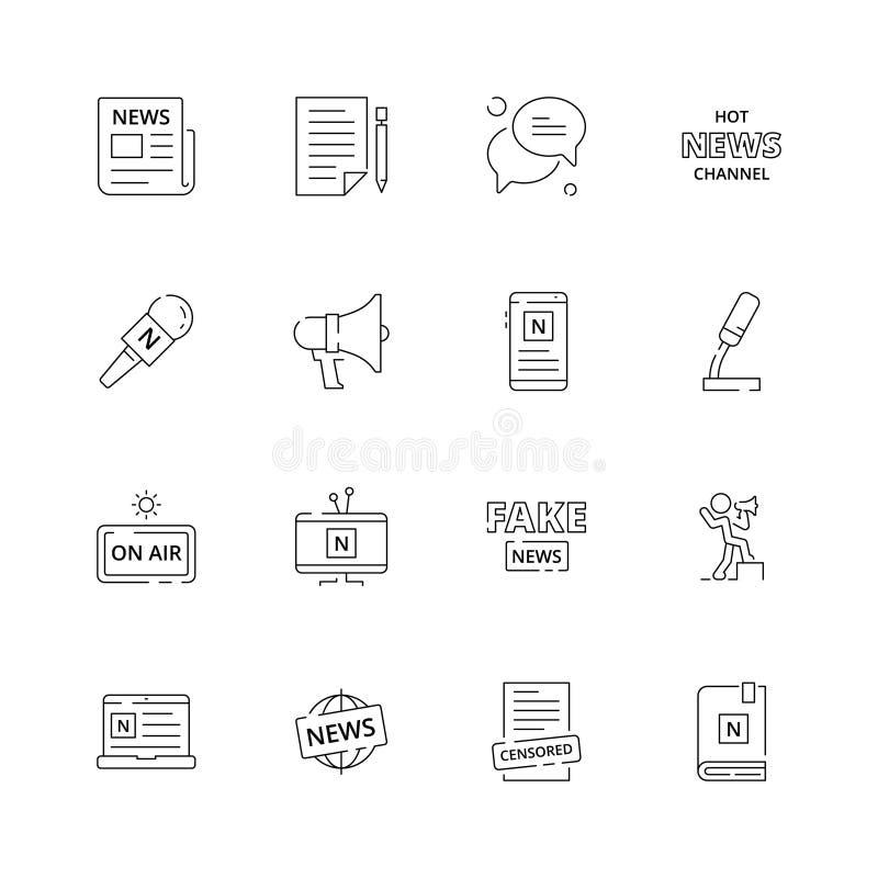 Iconos de las noticias Ordenador portátil de publicación del ordenador del medios de la fuente de la revista periódico del papel  ilustración del vector