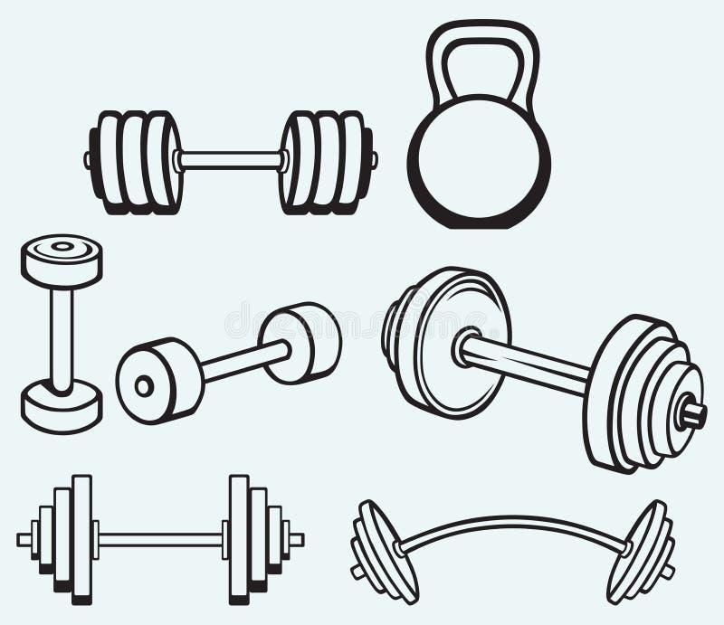 Iconos de las pesas de gimnasia stock de ilustración
