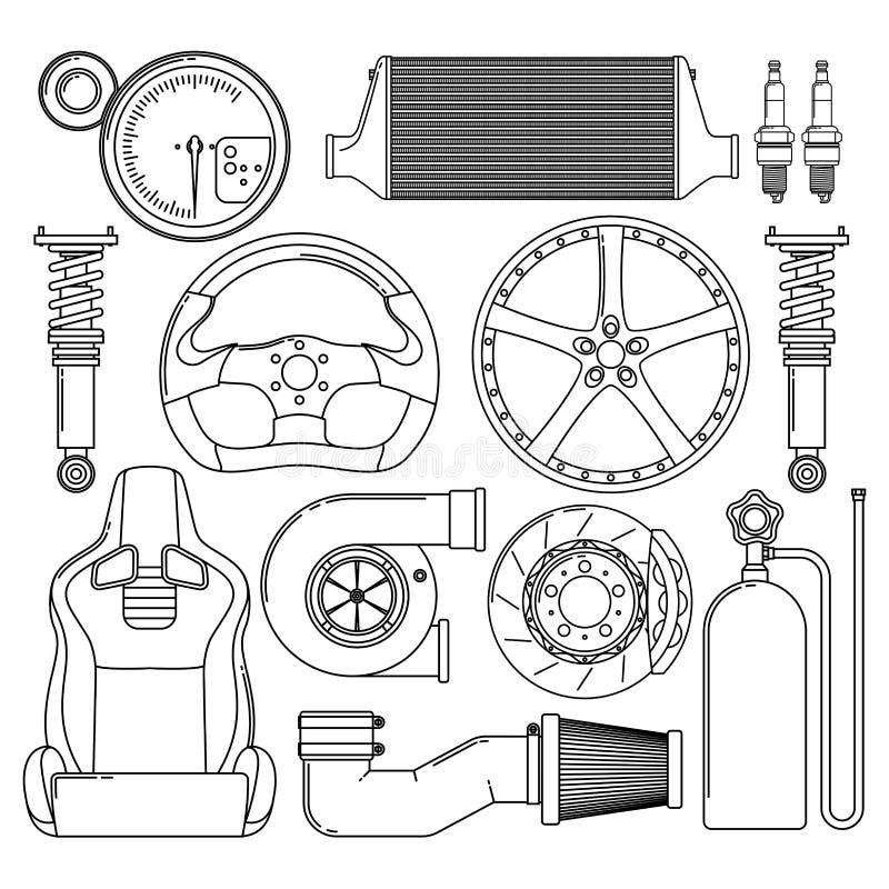 Iconos de las piezas de automóvil fijados libre illustration