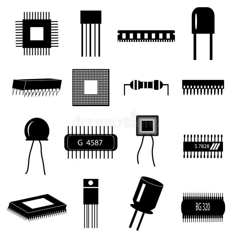 Iconos de las piezas del circuito electrónico fijados libre illustration