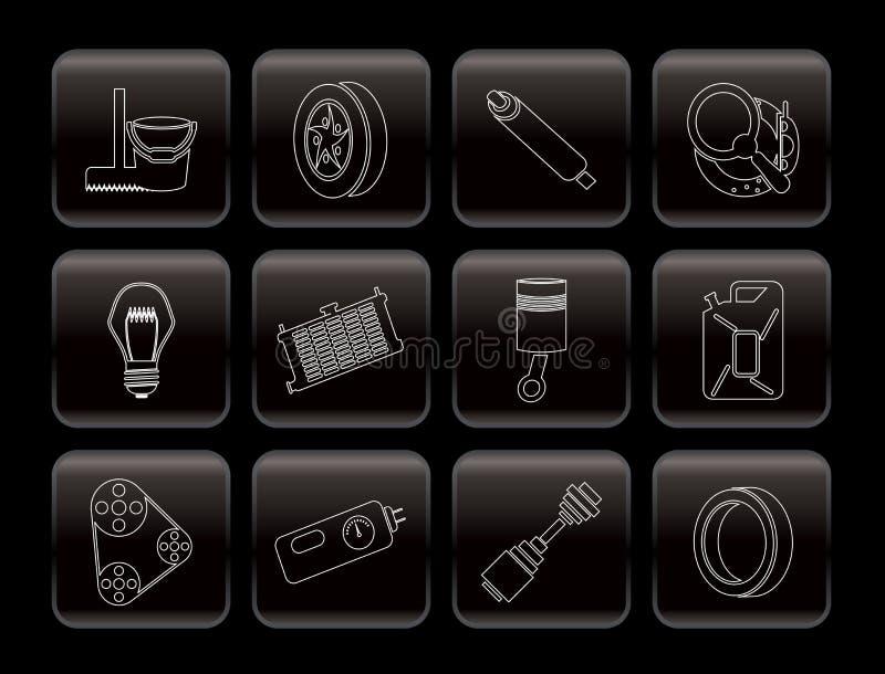 Iconos de las piezas y de los servicios del coche libre illustration