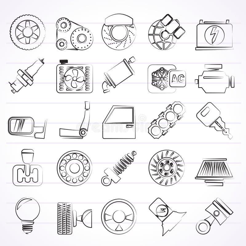 Iconos de las piezas y de los servicios del coche stock de ilustración