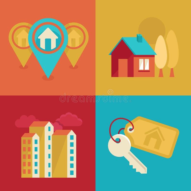 Iconos de las propiedades inmobiliarias en estilo plano stock de ilustración