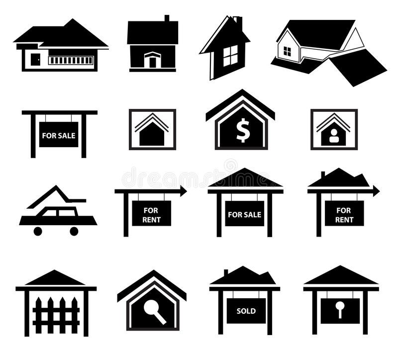 Iconos de las propiedades inmobiliarias fijados ilustración del vector