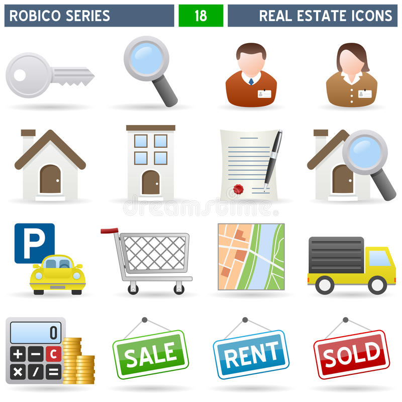 Iconos de las propiedades inmobiliarias - serie de Robico ilustración del vector